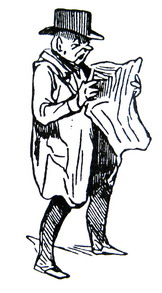 Udsnit af Daumier-tegning med læsende mand